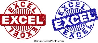 Grunge EXCEL Scratched Round Stamps - Grunge EXCEL round ...