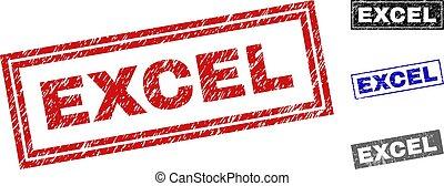 Grunge EXCEL Textured Rectangle Stamp Seals - Grunge EXCEL ...