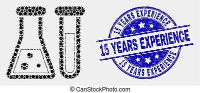 grunge, expérience, années, chimique, vecteur, cachet, 15, verrerie, pixel, icône