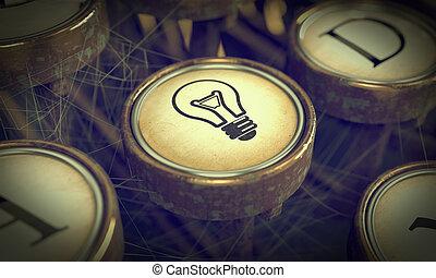 grunge, experiência., lâmpada, key., bulbo, máquina escrever