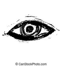 grunge eye, vector icon illustration