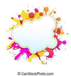 grunge, färg, affisch, abstrakt, anförande, bubblar