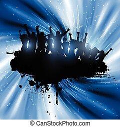 grunge, fête, gens, 3001