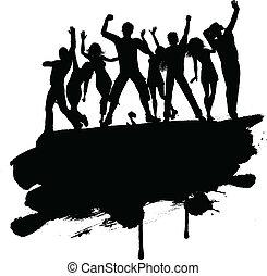 grunge, fête, gens, 3103