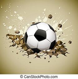 grunge, fútbol, pelota del fútbol, caer, en, suelo