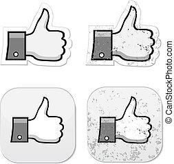 grunge, facebook, det, ligesom, knap