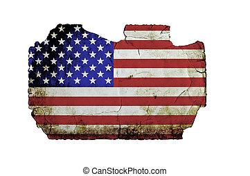 grunge, fahne, freigestellt, amerikanische , papier, weißes