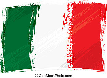grunge, fahne, italien