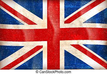 grunge, fahne, von, der, vereinigtes königreich