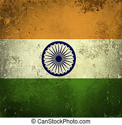grunge, fahne, von, indien