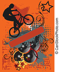 grunge, fahrrad, springen, und, musik