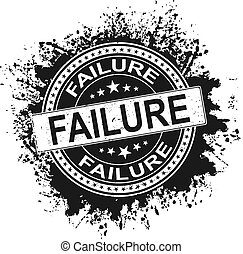 Grunge failure word with star icon round rubber seal stamp on white background