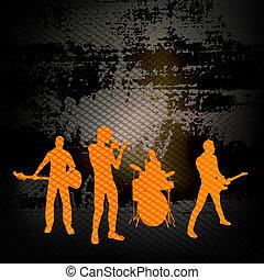 grunge, fal, csoport, ábra, gitár, banda, vektor, ellen,...