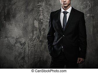 grunge, fal, ellen, black öltöny, well-dressed, ember