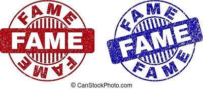 Grunge FAME Scratched Round Stamp Seals