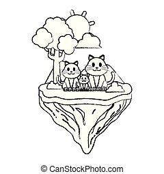 grunge family cat animal in float island