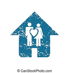 Grunge family house icon