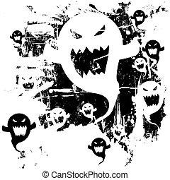 grunge, fantasmas, vector, halloween
