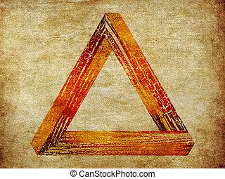 grunge, fantastico, triangolo