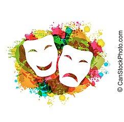 grunge, farsang, színes, egyszerű, maszk, vígjáték, tragédia