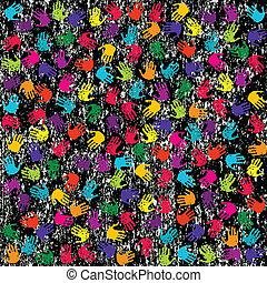 grunge, farvet baggrund, hænder