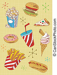Grunge fast food icons set
