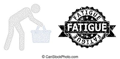 Fatigue grunge seal print and vector tired buyer persona mesh model. Black seal contains Fatigue title inside ribbon and rosette. Abstract 2d mesh tired buyer persona, created from flat mesh.