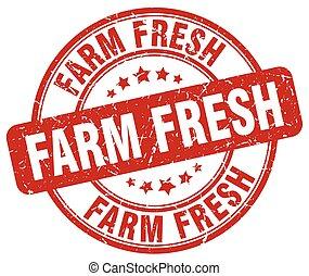 grunge, fattoria, vendemmia, bollo gomma, fresco, rotondo, rosso