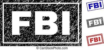 Grunge FBI Scratched Rectangle Stamps