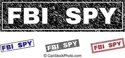 Grunge FBI SPY Textured Rectangle Stamp Seals