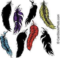 Grunge feathers design