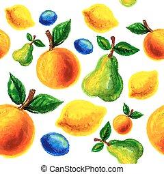 grunge, feito à mão, aquarela, retro, frutas, design.