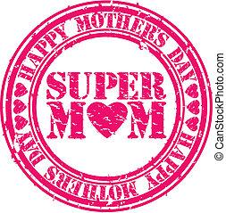 grunge, feliz, día madres, caucho, sta