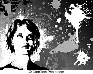 Grunge female - Silhouette of a female face on grunge ...
