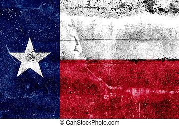grunge, festett, állam, fal, lobogó, texas