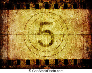 Grunge Film Negative Background Texture and Countdown Leader...