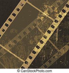 Grunge film strip background. Vector
