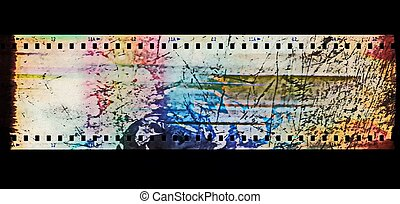 grunge film strip isolated on black