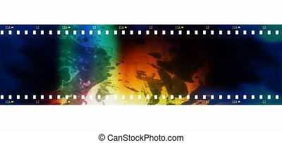 grunge film strip isolated on white