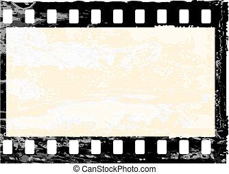 Aged vector illustration of a grunge filmstrip frame.