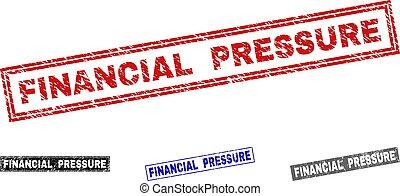 Grunge FINANCIAL PRESSURE Scratched Rectangle Stamp Seals