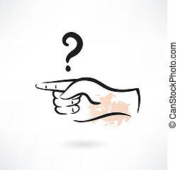 grunge, finger, zeigt, ikone