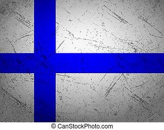 Grunge Finland flag textured background. Vector illustration.
