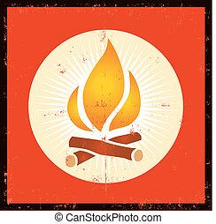 Grunge Fire Symbol - Illustration of a grunge fire flame...