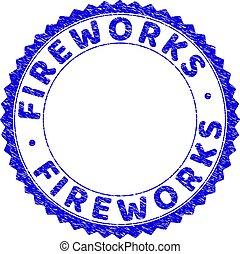 Grunge FIREWORKS Textured Round Rosette Stamp Seal