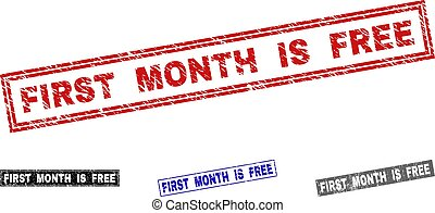 Grunge FIRST MONTH IS FREE Scratched Rectangle Stamp Seals