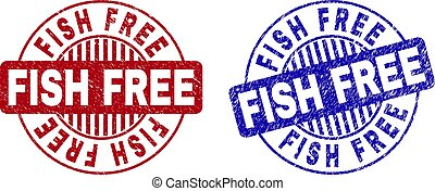 Grunge FISH FREE Textured Round Stamp Seals