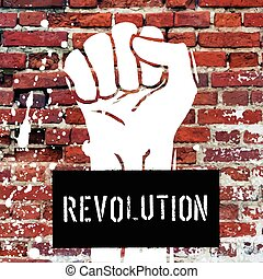 Grunge fist illustration on brick texture with white splashes an