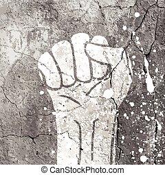 Grunge fist illustration on concrete texture with white splashes