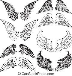 grunge, flügeln, engelchen